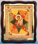 Неопалимая Купина Б.М., в фигурном киоте, с багетом. Храмовая икона (43 Х 50)
