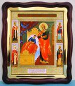 Целительница Б.М., в фигурном киоте, с багетом. Большая аналойная икона (28 Х 32)
