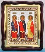 Самон, Гурий, Авив, в фигурном киоте, с багетом. Большая аналойная икона (28 Х 32)