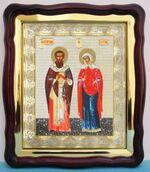 Киприан и Устинья, в фигурном киоте, с багетом. Храмовая икона (43 Х 50)