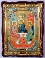 Троица, в фигурном киоте, с багетом. Храмовая икона (60 Х 80)