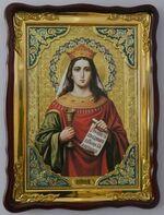 Варвара, Св. Вмч.,(пояс, венец), в фигурном киоте, с багетом. Храмовая икона (60 Х 80)