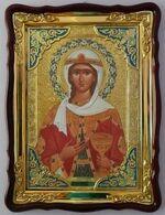 Варвара, Св. Вмч.,(пояс, платок), в фигурном киоте, с багетом. Храмовая икона (60 Х 80)