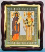 Кирилл и Мефодий, в фигурном киоте, с багетом. Храмовая икона (43 Х 50)