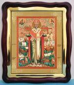 Николай Чудотворец с житием, в фигурном киоте, с багетом. Храмовая икона (43 Х 50)