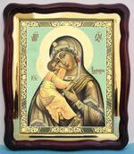 Владимирская Б.М.(01), в фигурном киоте, с багетом. Храмовая икона (43 Х 50)