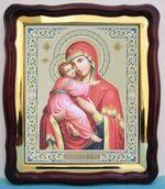 Владимирская Б.М.(19), в фигурном киоте, с багетом. Храмовая икона (43 Х 50)