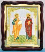 Петр и Павел. Св. Ап., в фигурном киоте, с багетом. Храмовая икона (43 Х 50)