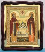 Петр и Феврония, в фигурном киоте, с багетом. Храмовая икона (43 Х 50)