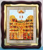 Собор Петербургских святых, в фигурном киоте, с багетом. Храмовая икона (43 Х 50)