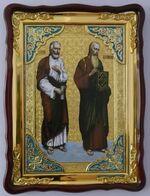Апостолы Варфоломей и Иоанн Богослов., в фигурном киоте, с багетом. Храмовая икона 60 Х 80 см.