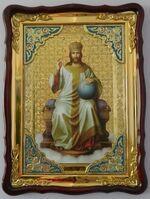 Спаситель на троне, в фигурном киоте, с багетом. Храмовая икона (60 Х 80)