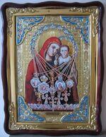 Боянская Б.М. с предстоящими, в фигурном киоте, с багетом. Храмовая икона (60 Х 80)