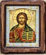 Георгий Победоносец, убивающий змея, с багетом. Средняя аналойная икона, зел. конгр., цвет (22 х 25)