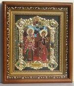 Киприан и Устинья, с багетом. Средняя аналойная икона, зел. конгр., цвет (22 х 25)