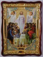 Успение Пресвятой Богородицы, в фигурном киоте, с багетом. Храмовая икона (60 Х 80)