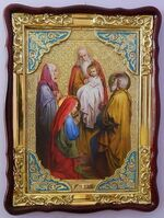 Сретение Господне, в фигурном киоте, с багетом. Храмовая икона (60 Х 80)