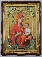 Скоропослушница Б.М., в фигурном киоте, с багетом. Храмовая икона (60 Х 80)