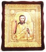 Иоанн Предтеча. Храмовая икона в фигурном киоте, в ризе, с багетом, 38 Х 44