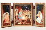 Складень МДФ (80), тройной Рождество Христово , с архангелами, 13 Х 7,5 см.