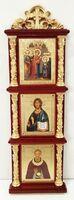 Иконостас домашний в резном киоте, вертикальный, Сергий Радонежский, 30 Х 10 см.
