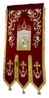 Хоругвь текстиль, бархат, двух-сторонняя вышивка, бордовая. Казанская Б.М. + Крест