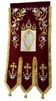 Хоругвь текстиль, бархат, двух-сторонняя вышивка, бордовая. Воскресение Христово + Крест
