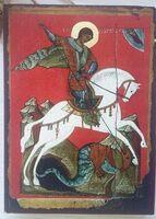 Георгий, убивающий змея, икона под старину JERUSALEM прямая (13 Х 17)