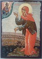 Ксения Петербургская, икона под старину JERUSALEM панорамная, с клиньями (13 Х 17)