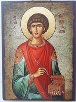 Пантелеймон, икона под старину JERUSALEM прямая (13 Х 17)