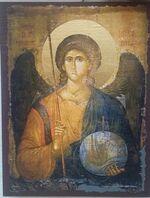 Арх. Михаил (пояс), икона под старину JERUSALEM панорамная, с клиньями (13 Х 17)