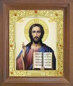 Спаситель. Икона в деревянной рамке с окладом (Д-26псо-22)