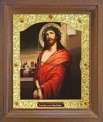 Спаситель в терновом венце. Икона в деревянной рамке с окладом (Д-26псо-23)