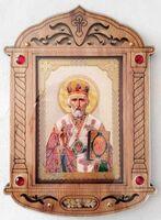 Николай Чудотворец (пояс). Икона настольная, резная, фигурная, JERUSALEM