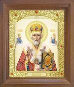 Николай Чудотворец. Икона в деревянной рамке с окладом (Д-26псо-25)