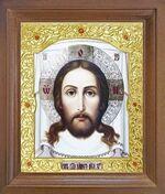 Спас Нерукотворный. Икона в деревянной рамке с окладом (Д-25псо-24)