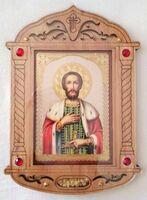 Александр Невский. Икона настольная, резная, фигурная, JERUSALEM