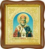 Николай Чудотворец, средняя аналойная икона, фигурный киот (Д-17фс-26)
