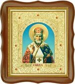 Николай Чудотворец, средняя аналойная икона, фигурный киот (Д-20фс-26)