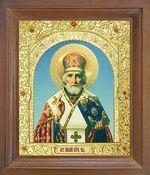 Николай Чудотворец. Икона в деревянной рамке с окладом (Д-25псо-26)
