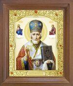 Николай Чудотворец. Икона в деревянной рамке с окладом (Д-26псо-27)
