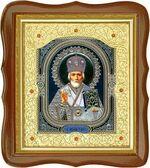 Николай Чудотворец, средняя аналойная икона, фигурный киот (Д-20фс-28)