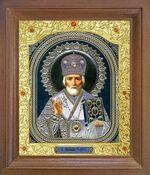 Николай Чудотворец. Икона в деревянной рамке с окладом (Д-26псо-28)