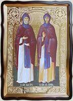 Петр и Феврония, в фигурном киоте, с багетом. Храмовая икона 60 Х 80 см.
