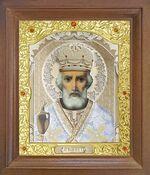 Николай Чудотворец. Икона в деревянной рамке с окладом (Д-25псо-29)