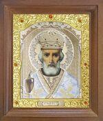 Николай Чудотворец. Икона в деревянной рамке с окладом (Д-26псо-29)