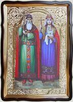 Владимир и Ольга Св.Рн.Ап., в фигурном киоте, с багетом. Храмовая икона 60 Х 80 см.