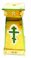 Подставка (тумба) под хоругви, кресты, иконы запрестольные, средняя, с литым крестои, херувимами, литыми накладками, литыми ножками