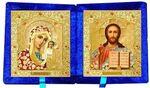 Складень бархат (Б-21-3-СЦО) цвет синий, средний, цветное одеяния, лик 15х18