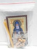 Серафим Вырицкий. Набор для домашней молитвы (Zip-Lock). Лик, молитва, свечка, ладан, крестик